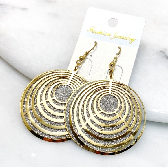 Prom Pageant Bridal Jewelry - Gold & Silver Geometric Layered Dangle Earrings